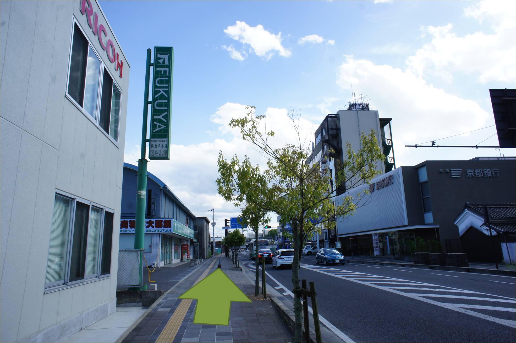 RICOH、福屋工務店を左に見ながら直進