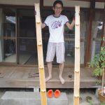 竹を割ってみました!!